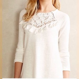 Anthropologie Floreat Tassle Crochet Ivory Sweater